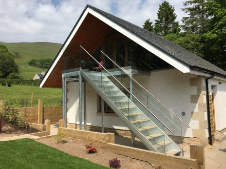 glass balustrade on outdoor stairs