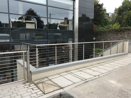 stainless steel railings outside office building